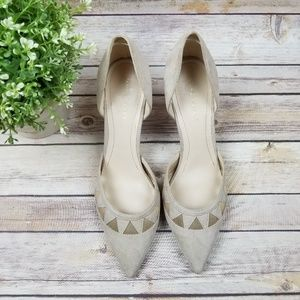 Marc Fisher Beige Suede D'Orsay Pointed Toe Pump